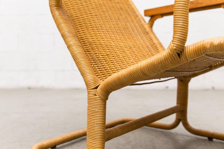 Dirk Van Sliedregt Rattan Lounge Chair with Wood Arms 7
