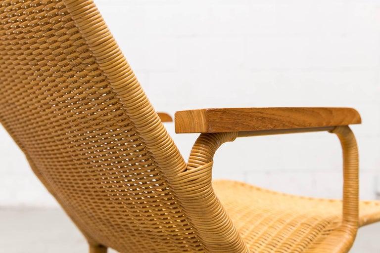 Dirk Van Sliedregt Rattan Lounge Chair with Wood Arms 8