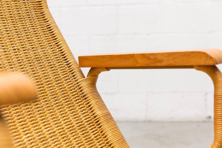 Dirk Van Sliedregt Rattan Lounge Chair with Wood Arms 10