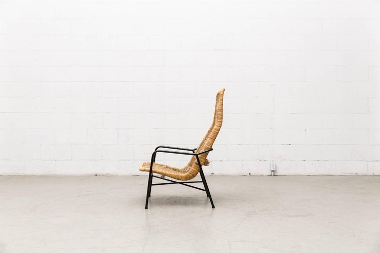 Dirk Van Sliedregt High Back Bamboo Arm Chair with Black Frame 3