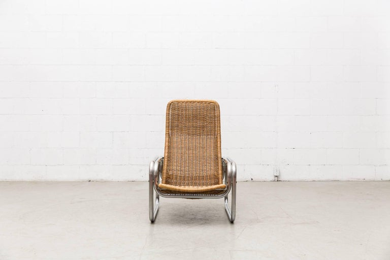 Rare Dirk Van Sliedregt Rattan and Chrome Lounge Chair 2