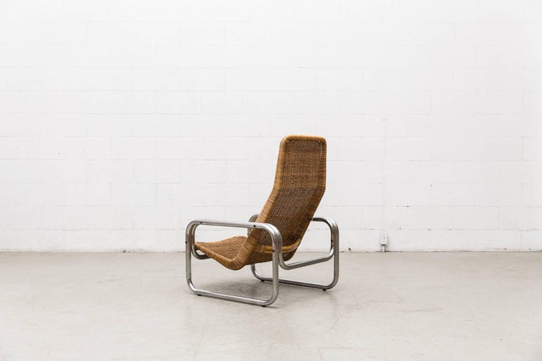 Rare Dirk Van Sliedregt Rattan and Chrome Lounge Chair 3