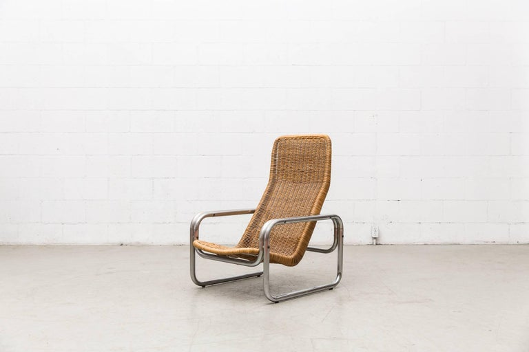 Rare Dirk Van Sliedregt Rattan and Chrome Lounge Chair 4