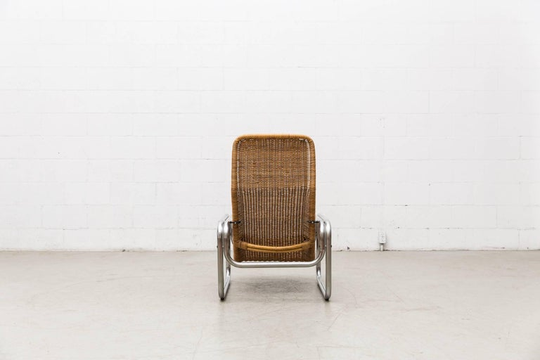 Rare Dirk Van Sliedregt Rattan and Chrome Lounge Chair 5