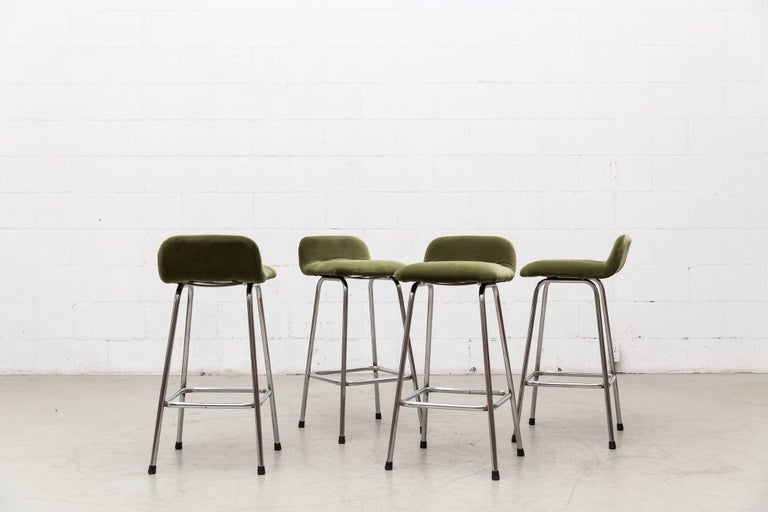 Set Of Four Charlotte Perriand Style Velvet Bar Stools At