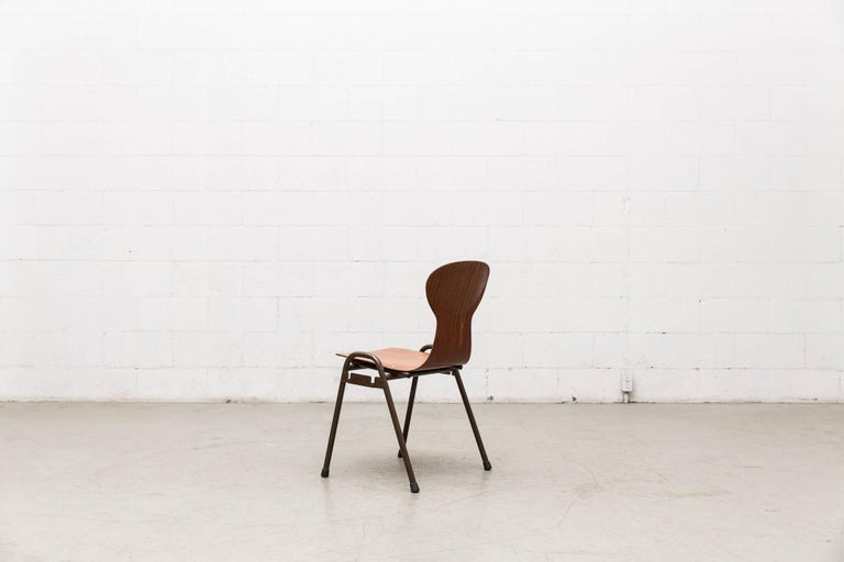 Fritz Hansen Style Stacking Teak Toned School Chairs 5