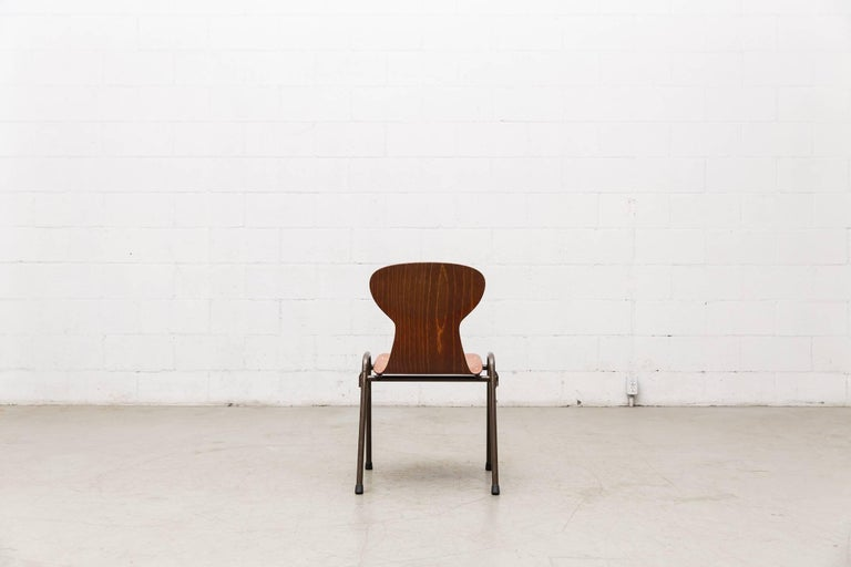 Fritz Hansen Style Stacking Teak Toned School Chairs 6