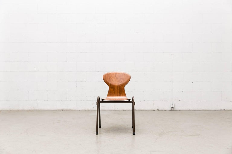 Fritz Hansen Style Stacking Teak Toned School Chairs 2