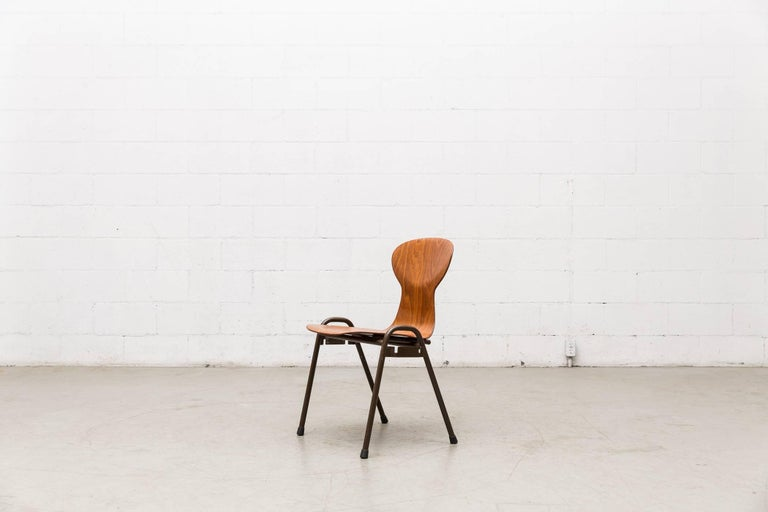 Fritz Hansen Style Stacking Teak Toned School Chairs 3