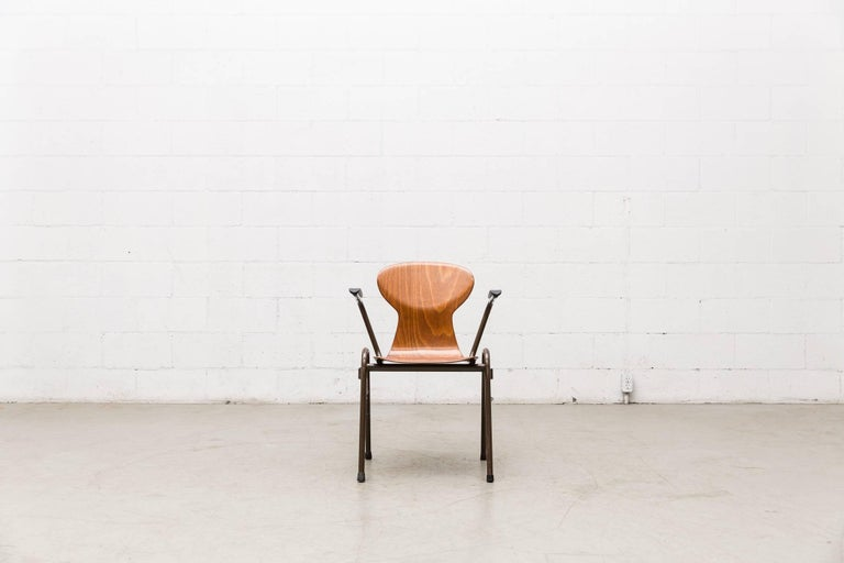 Fritz Hansen Style Stacking Teak Toned School Chairs 7