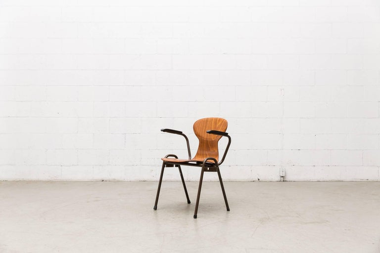 Fritz Hansen Style Stacking Teak Toned School Chairs 8