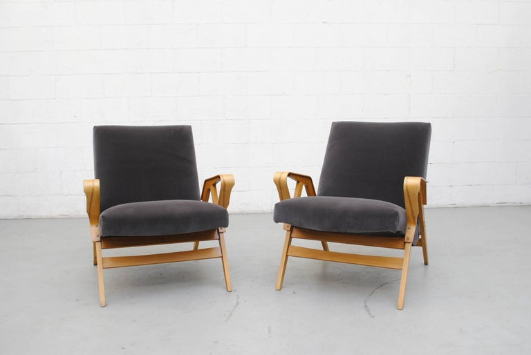 Pair of Czech Tatra Bent Plywood Lounge Chairs in Grey Velvet 2