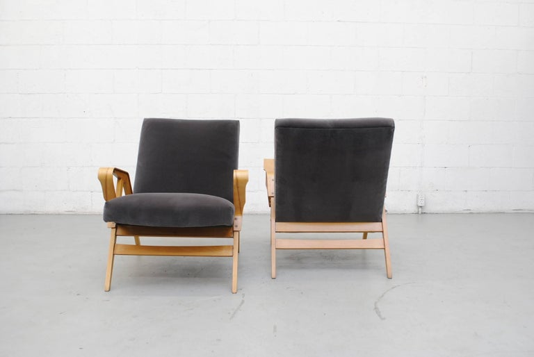 Pair of Czech Tatra Bent Plywood Lounge Chairs in Grey Velvet 4