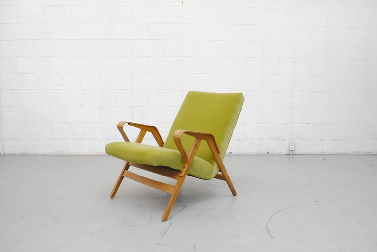 Tatra Bent Plywood Lounge Chair in Lime Velvet 3