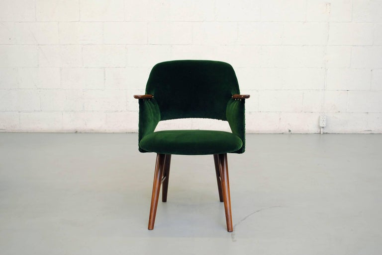 Designed in 1954, this is an amazing set of Saarinen style FT30 armchairs by Cees Braakman for Pastoe. Incredibly handsome set of six chairs with teak armrests and legs, upholstery nail detail. Frames in good original condition, lightly refinished.