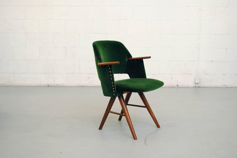 Mid-Century Modern Set of Six Cees Braakman for Pastoe Emerald Velvet FT30 Armchairs For Sale