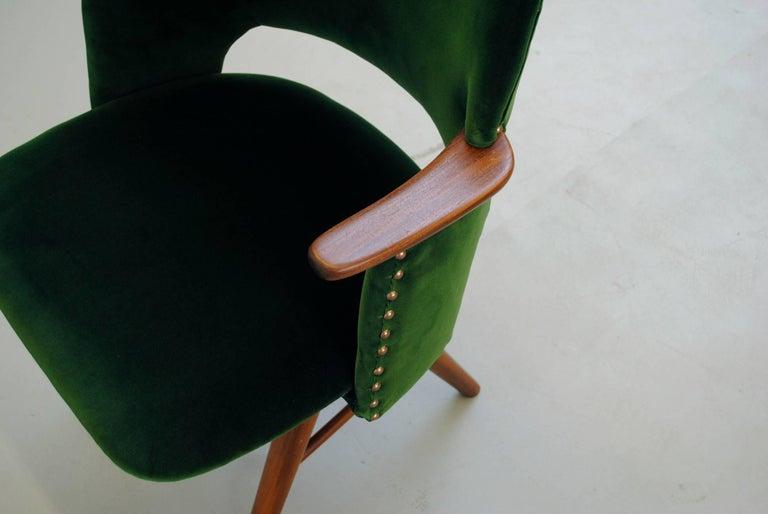 Set of Six Cees Braakman for Pastoe Emerald Velvet FT30 Armchairs 7