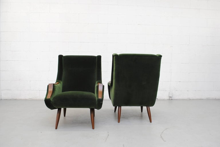 emerald green furniture. Set Of Two Marco Zanuso Style Lounge Chairs Newly Upholstered In Emerald Green Velvet With Organic Furniture