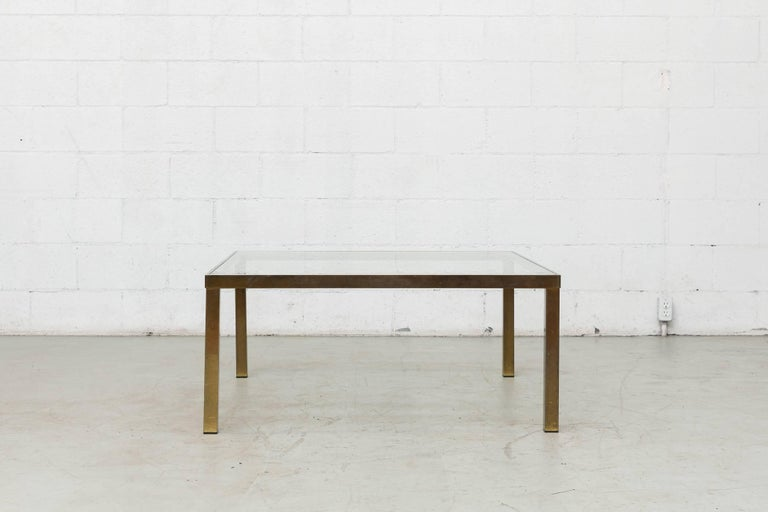 Maison Jansen Style Square Brass-Plated Coffee Table 2
