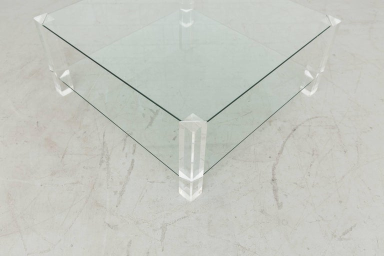 Mid-Century Modern Two-Tiered 1970s Lucite and Glass Coffee Table For Sale