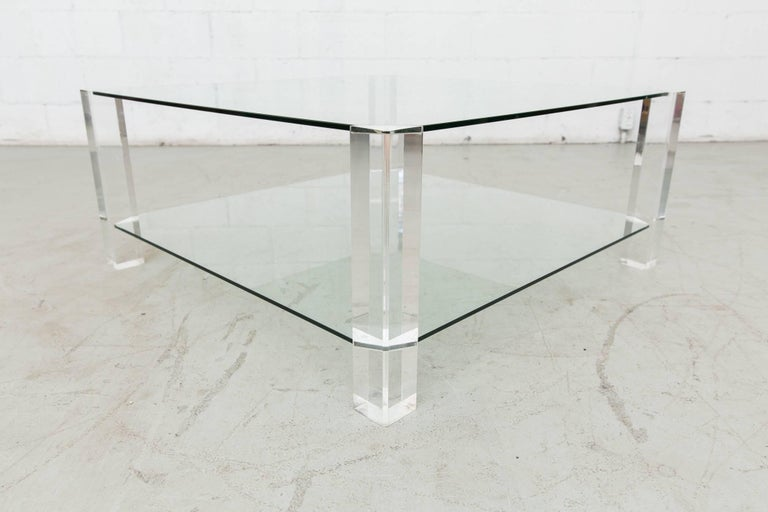 Dutch Two-Tiered 1970s Lucite and Glass Coffee Table For Sale