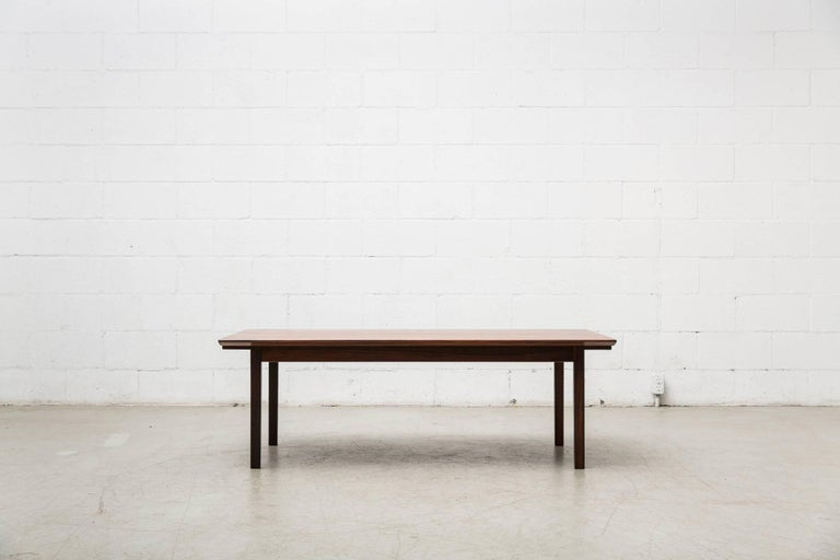 Formica Swedish Rosewood Coffee Table with Extending Trays For Sale