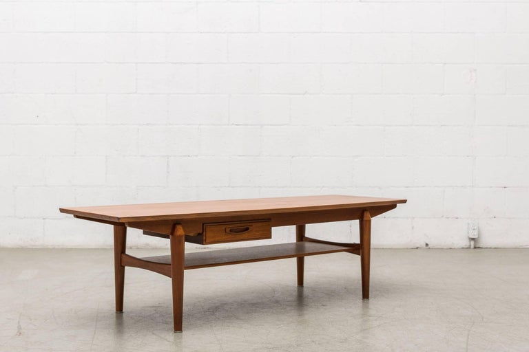 Mid Century Teak Coffee Table with Storage Drawer For Sale