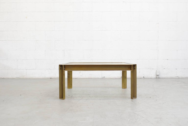 Peter Ghyzcy T09 Brass and Glass Industrial Style Coffee Table 2