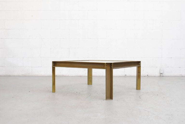 Peter Ghyzcy T09 Brass and Glass Industrial Style Coffee Table 3