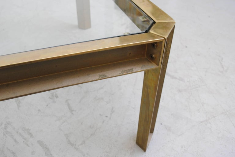 Peter Ghyzcy T09 Brass and Glass Industrial Style Coffee Table 5