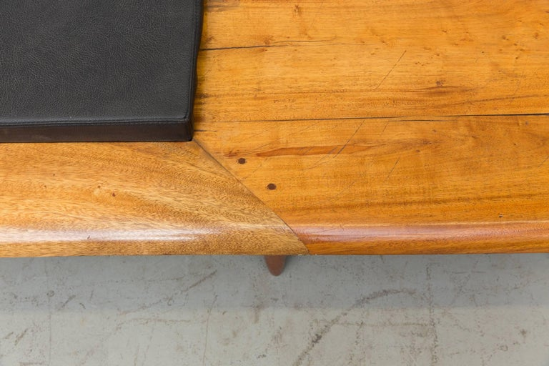 George Nelson Style Solid Teak Bench with Cushion 6