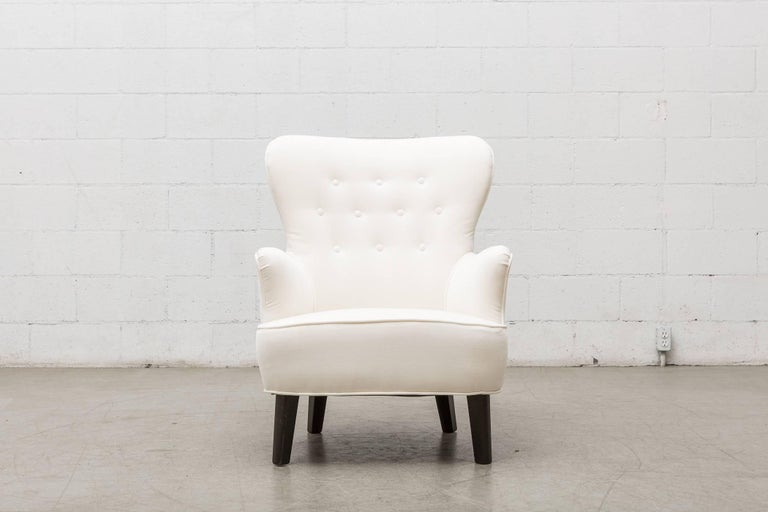 Gorgeous Pair of Newly Upholstered Theo Ruth Lounge Chairs for Artifort in White Velvet with Dark Stained Wood Legs. Legs in Good Original Condition with Some Signs of Wear. Set Price. Other Similar Color and Fabric Ways Available, Listed Separately.