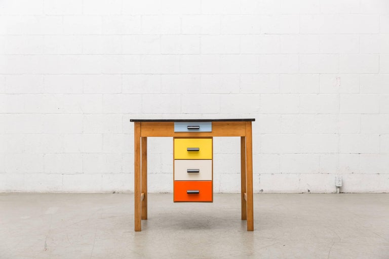 Pastoe Style Multicolored Drawer Desk 2