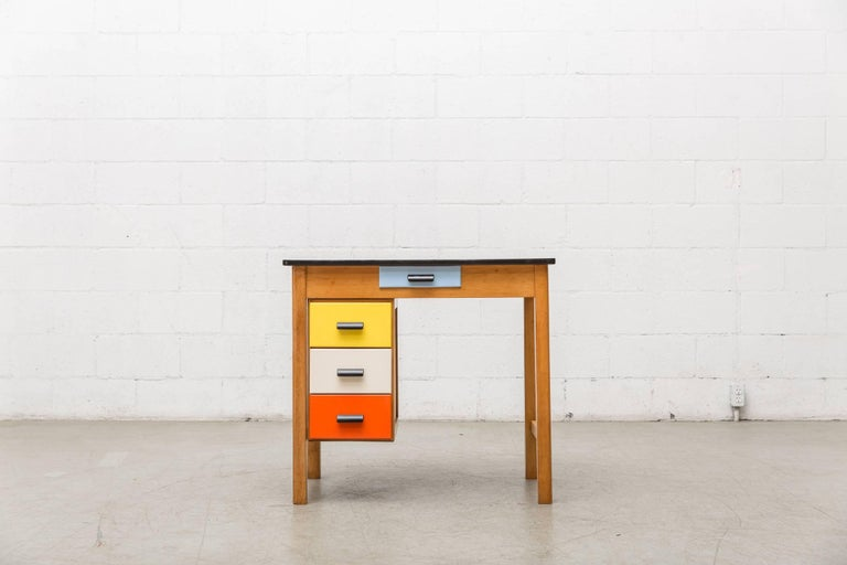Pastoe Style Multicolored Drawer Desk 3