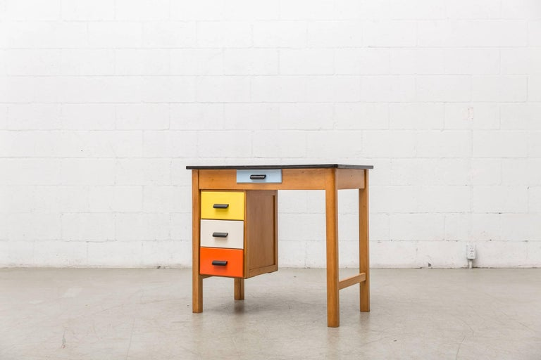 Pastoe Style Multicolored Drawer Desk 4