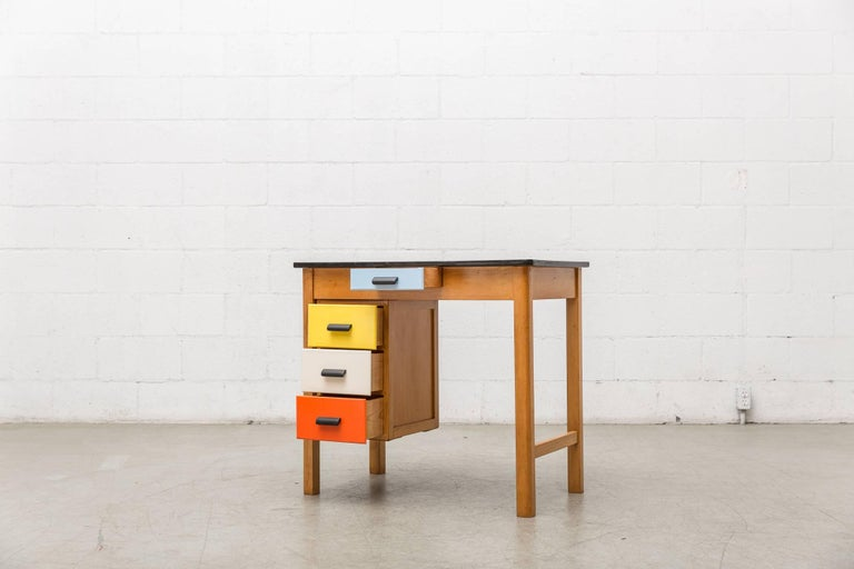 Pastoe Style Multicolored Drawer Desk 5