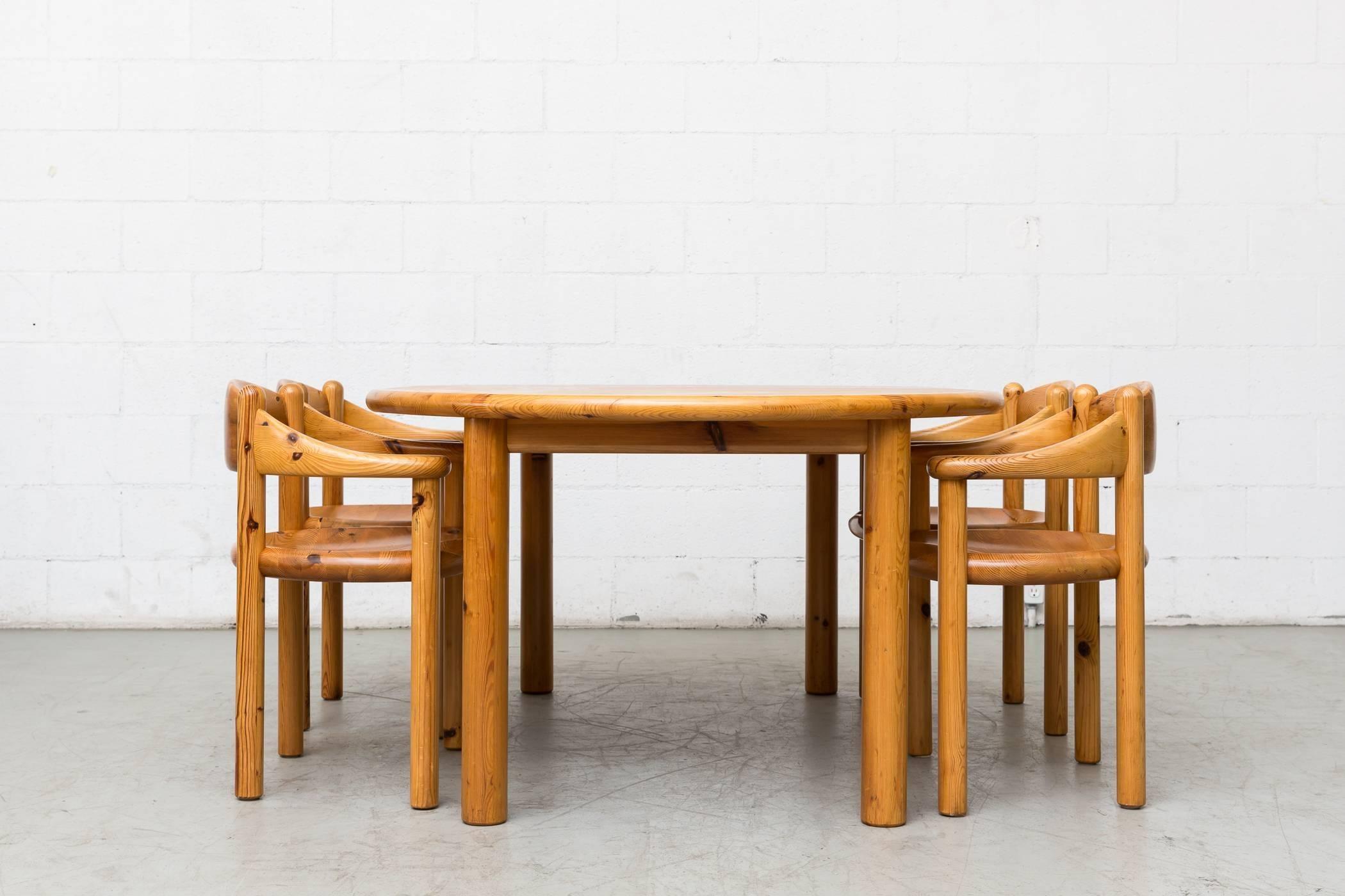Mid Century Modern Rainer Daumiller Pine Dining Set For Hirtshals Savvaerk  For Sale