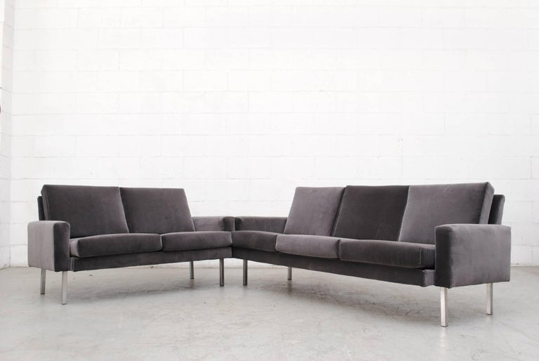 Gorgeous Martin Visser three-seat sofa in new grey velvet upholstery with chrome legs. Legs in original condition with visible wear.