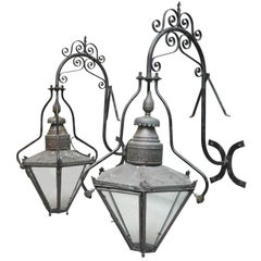 Pair of 19th Century Monumental English Copper and Iron Outdoor Lantern Sconces