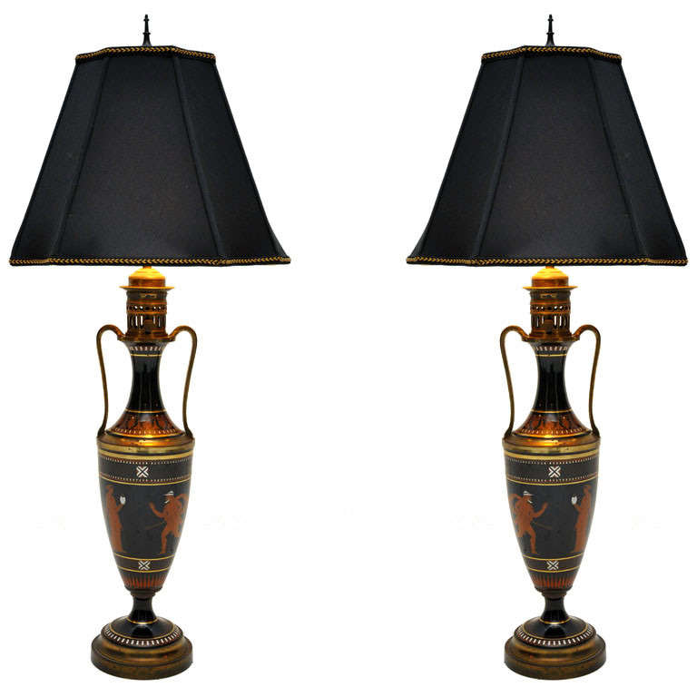Pair Of Greek Urn Table Lamps For Sale
