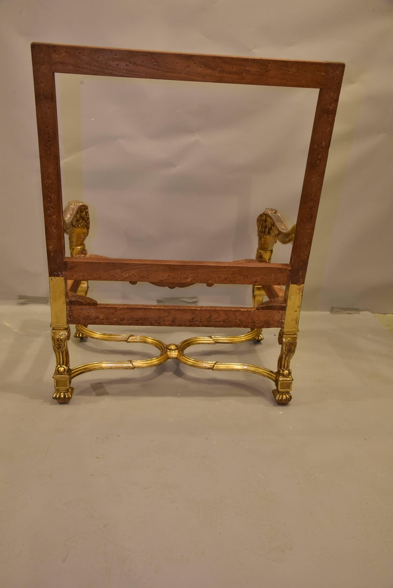 Italian Baroque Louis Xiv Style Gold Leaf Oversized Chair For Sale