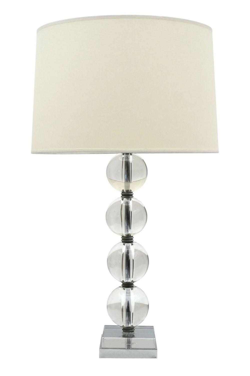 1970 39 s glass ball table lamp on chrome base france for. Black Bedroom Furniture Sets. Home Design Ideas
