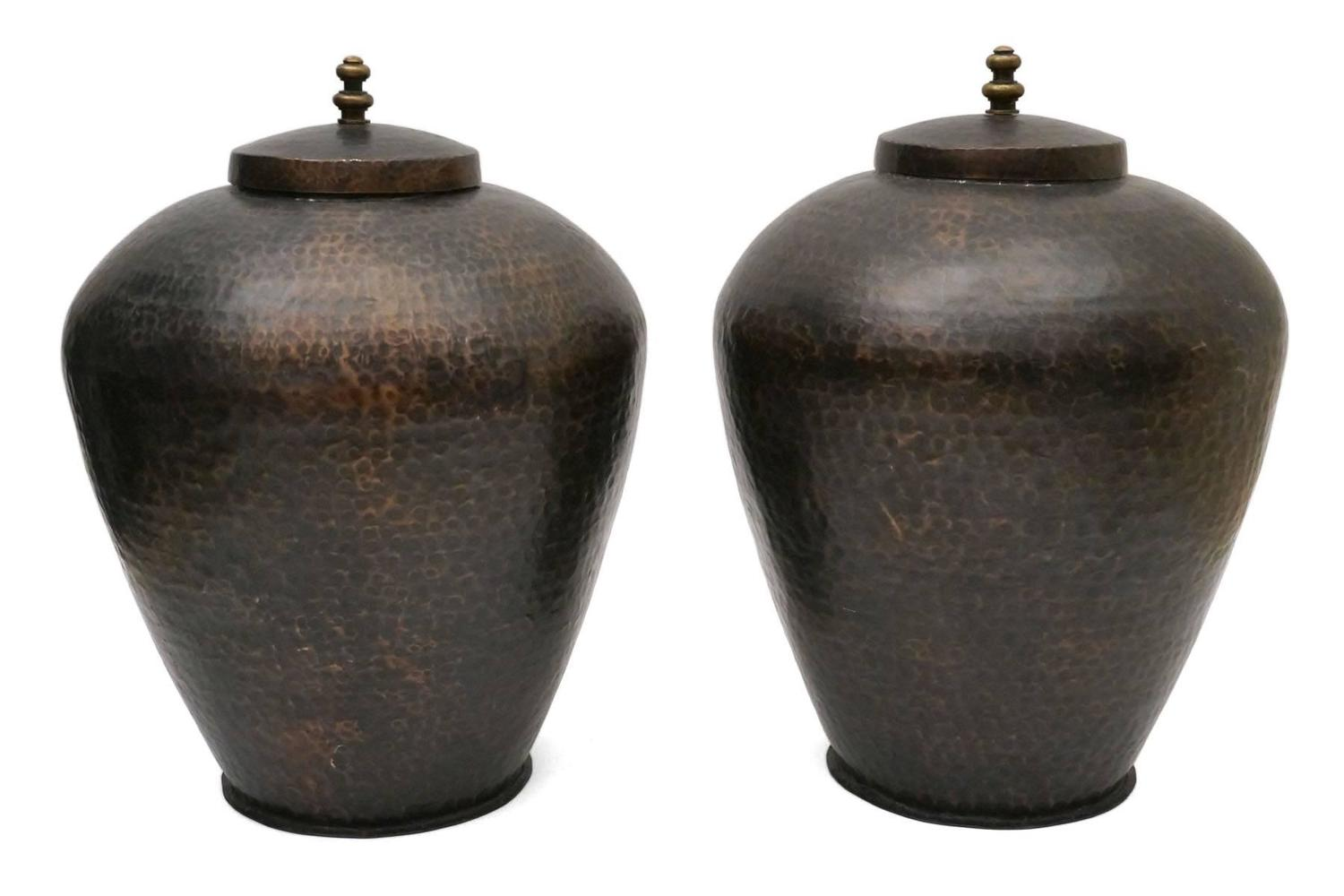 Large pair of hammered copper urns with lids spain circa 1960 for sale at 1stdibs - Large decorative vases and urns ...
