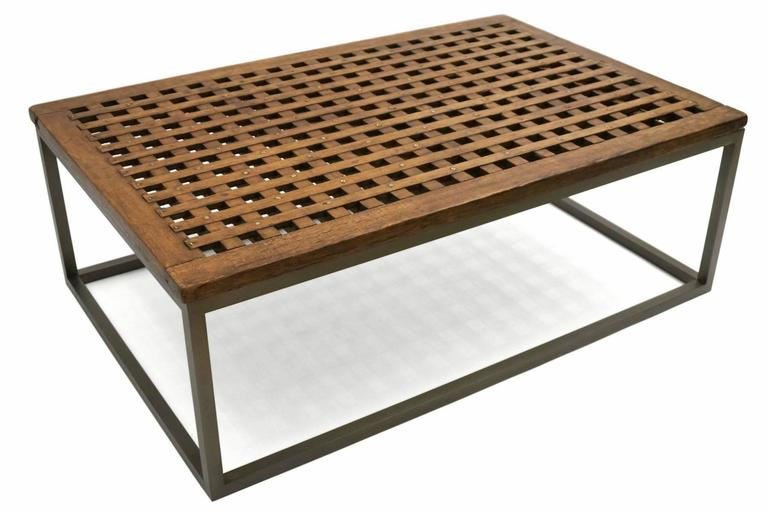 Rectangular Coffee Table With Slatted Top Circa 1960s At 1stdibs