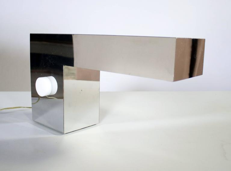 Late 1970s Postmodern chrome desk or table lamp designed by George Kovacs. Wired and in excellent condition.
