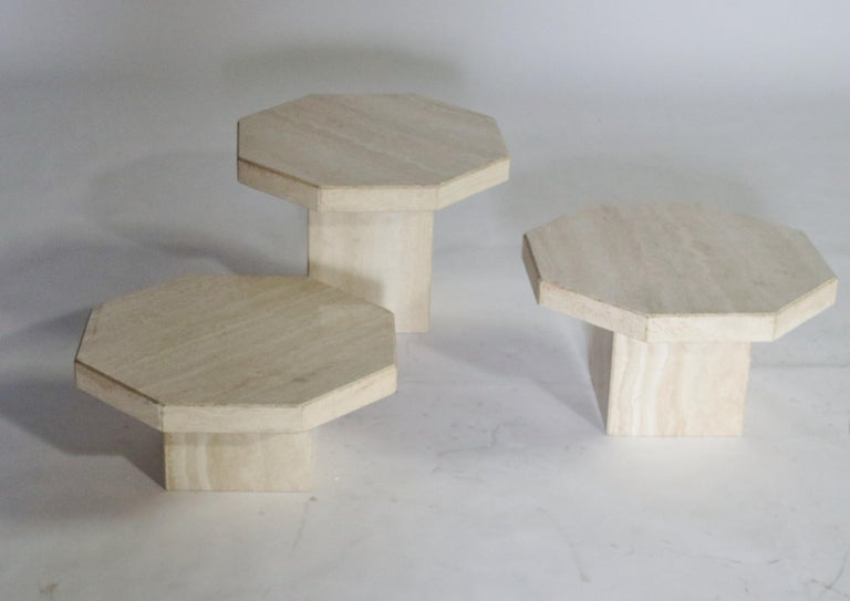 Mid-Century Modern Trio of Travertine Tables with Hexagon Shape Tops For Sale