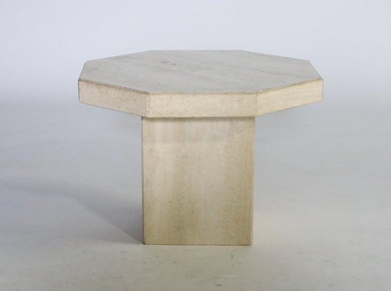 Late 20th Century Trio of Travertine Tables with Hexagon Shape Tops For Sale