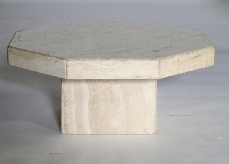 Trio of Travertine Tables with Hexagon Shape Tops For Sale 1