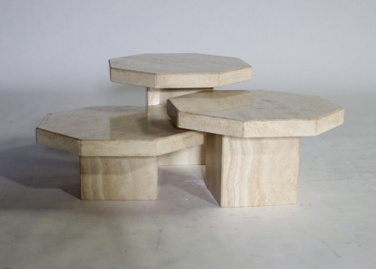 Trio of Travertine Tables with Hexagon Shape Tops For Sale 3