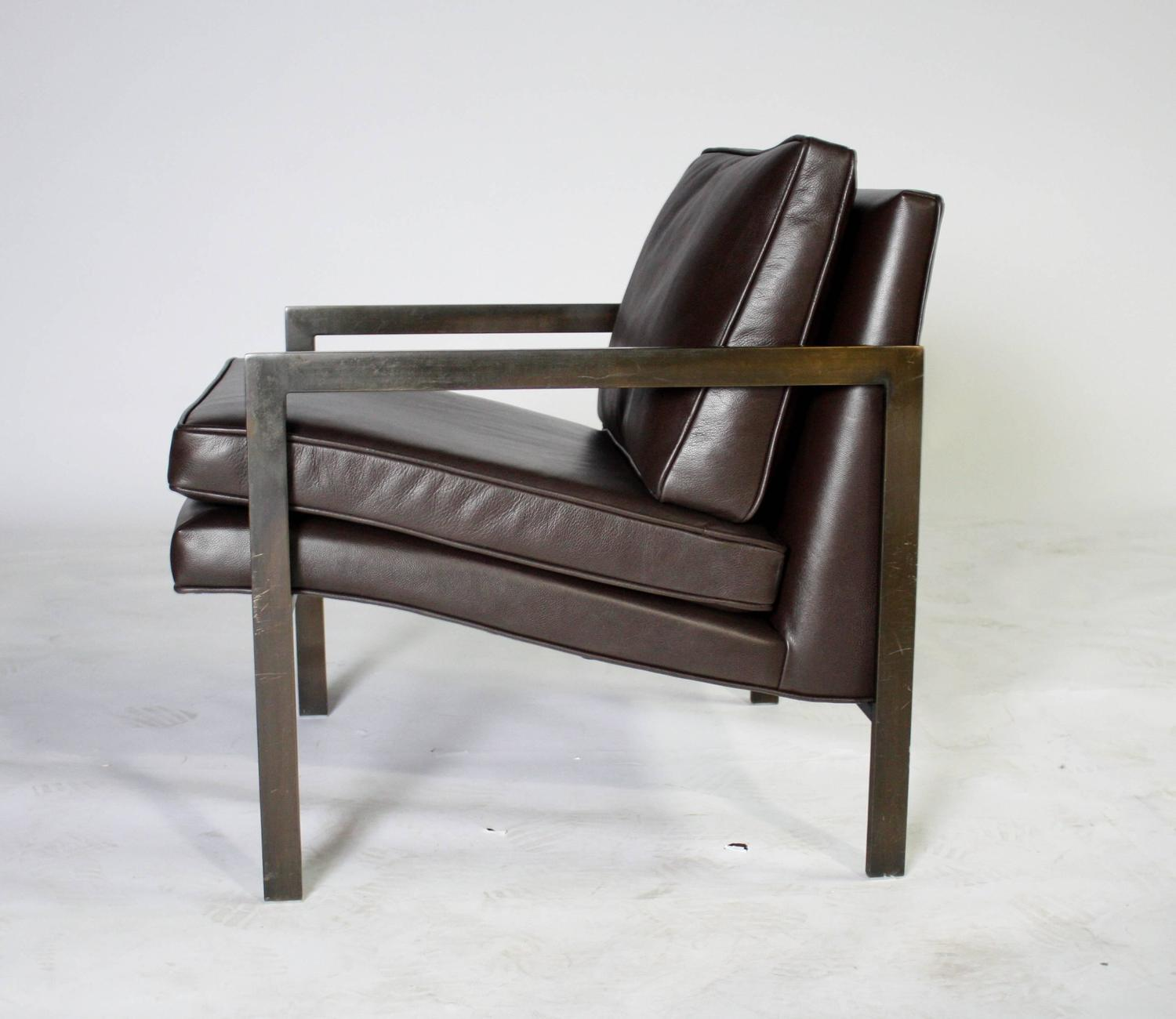 Milo Baughman Bronze and Leather Lounge Chair at 1stdibs